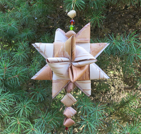 birch bark star ornament