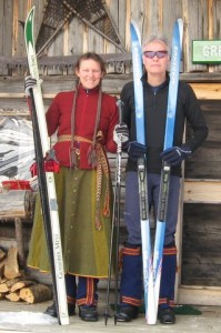 Becky's new handwoven ski skirt, gaiters and belt. They were a blast to ski in for a week in Maine.