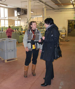 Becky touring the Holma Hälsinglands factory